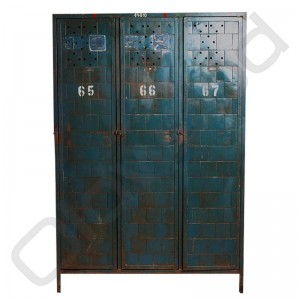 Vintage metalen locker driedeurs
