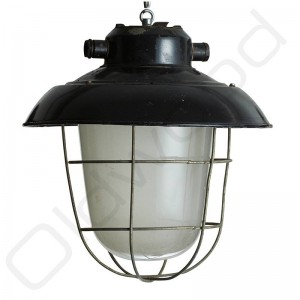 Industriële lampen - glas en korf